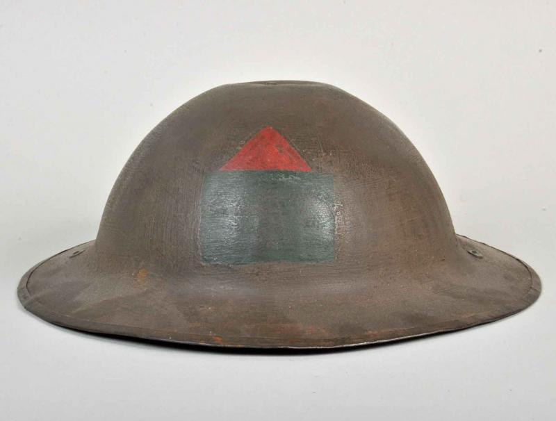 BRITISH WWI CANADIAN DE-FROCKED CRUISE HELMET.