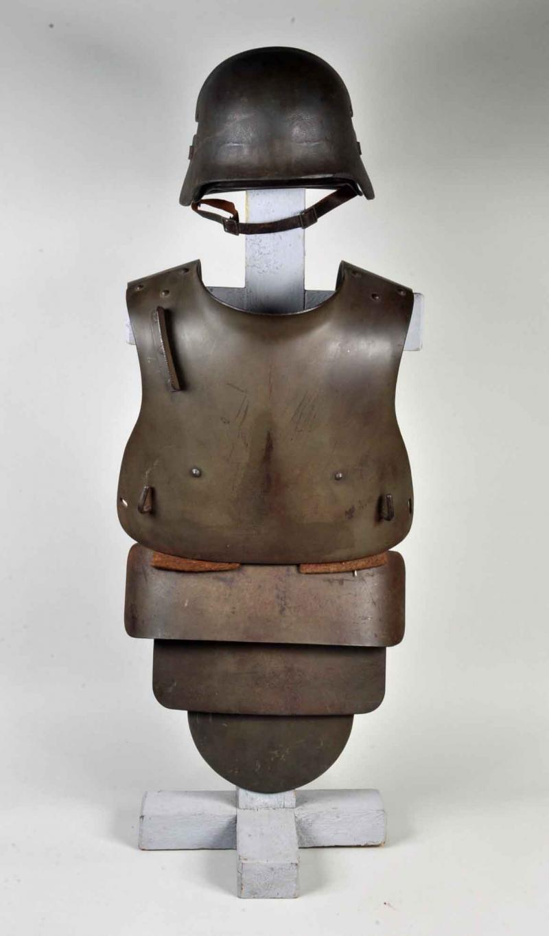 GERMAN WWI 4TH PATTERN BODY ARMOUR WITH M.17 HELMET AND ARMOURED SHIELD.